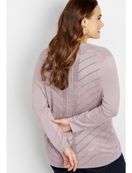Plus Size Pointelle Back Cardigan by Maurices