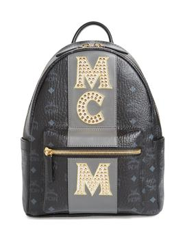 Stark Stripe Studs Coated Canvas Backpack by Mcm