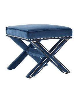 Tov Furniture Reese Velvet Ottoman, Navy by Tov Furniture