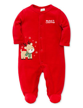 Baby Boys Velour Reindeer Footed Coverall by Little Me