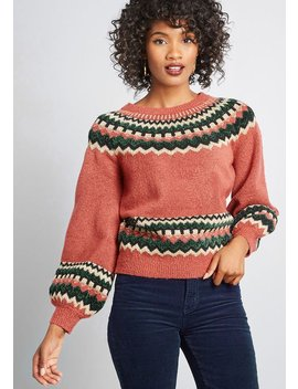 Afternoon Crafting Fair Isle Sweater by Modcloth