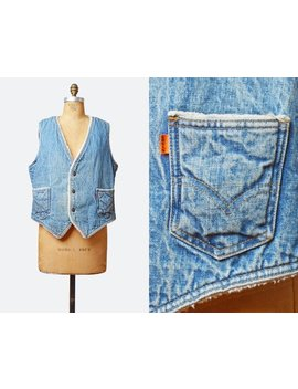 Vintage 70s Levis Denim Sherpa Fleece Vest Light Blue Sleeveless Levi Jean Jacket Top 1970s Grunge Biker Hipster Faded Button Up Large L by Etsy