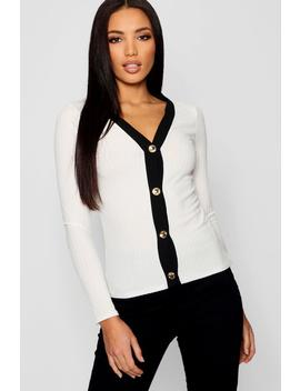 V Neck Button Contrast Top by Boohoo