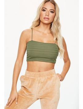 Khaki Stripe Mesh Crop Top by Missguided