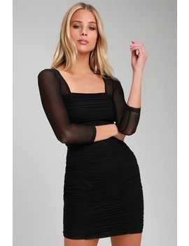 Unmistakable Black Ruched Mesh Bodycon Dress by Lulus
