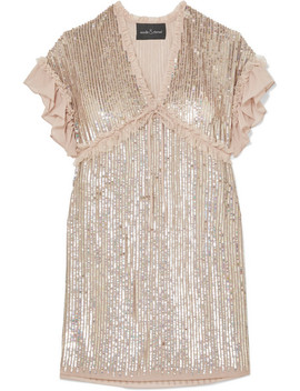 Gloss Ruffled Sequined Chiffon Mini Dress by Needle & Thread