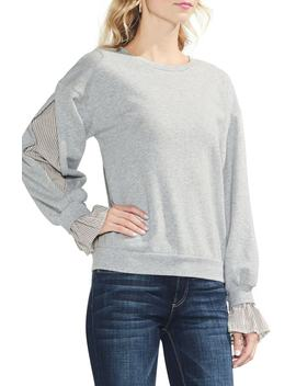 Mix Media Ruffle Sleeve Sweatshirt by Vince Camuto