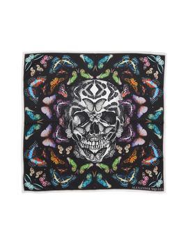 Skull & Rainbow Butterflies Print Silk Bandana by Alexander Mcqueen