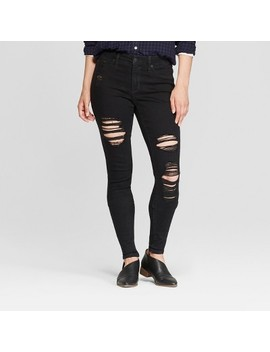 Women's High Rise Destructed Jeggings   Universal Thread™ Black Wash by Universal Thread
