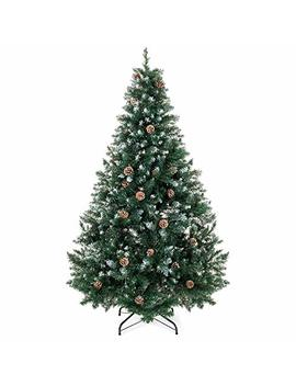 Best Choice Products 6ft Hinged Artificial Christmas Tree For Home Living Room Festive Holiday Decoration W/Snow Flocked Tips, Pine Cones, Metal Stand   Green by Best Choice Products