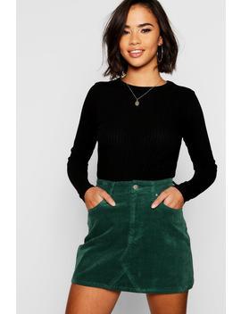 Cord Denim Mini Skirt by Boohoo
