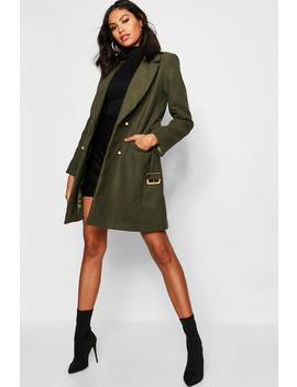 Military Double Breasted Wool Look Coat by Boohoo