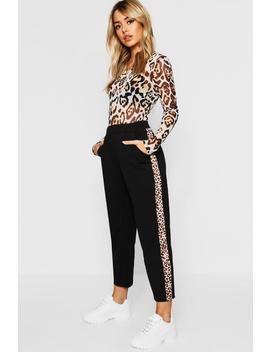 Petite Leopard Print Stripe Cigarette Trouser by Boohoo