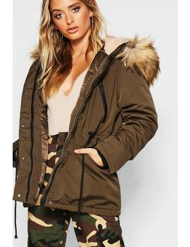 Technical Faux Fur Trim Parka by Boohoo