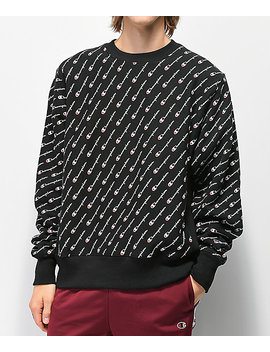 Champion Reverse Weave All Over Print Black Crew Neck Sweatshirt by Champion