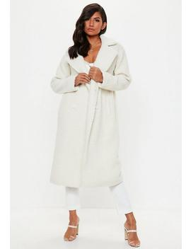 Tall Cream Longline Borg Teddy Coat by Missguided