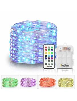 Homestarry Led Fairy String Multicolor Changing Twinkle Lights With Remote, 16.4 Ft 50, Battery Powered, Indoor Decorative Silver Wire Bedroom,Patio,Outdoor Garden,Stroller,Christmas Tree,13 Option by Homestarry