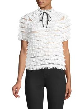 Tiered Lace Tie Neck Blouse by Sandro