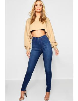Super High Waist Power Stretch Skinny Jeans by Boohoo