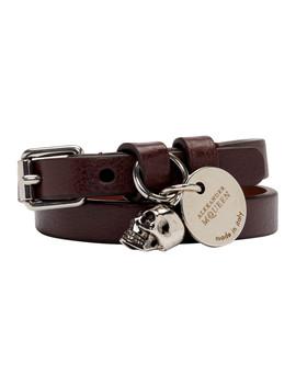Burgundy & Silver Double Wrap Bracelet by Alexander Mcqueen