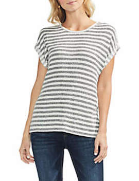 Pique Bar Stripe Roll Sleeve Tee by Vince Camuto