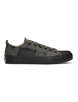 Grey & Black Swallows Plimsoll Sneakers by Mcq Alexander Mcqueen