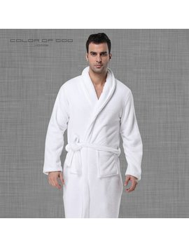 Brand Winter Mens Bathrobe Thick Warm Coral Fleece Night Dressing Gown Pure White Ropa Hombre Bath Robe Comfort Homme Kimono by Color Of Heart