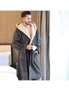 Men's Winter Coral Velvet Hooded Robe Male Warm Long Bathrobes Comfort Gray Bath Robe Vs T by Ali Express