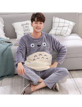 Fashion Cartoon Pajamas Set Men's Clothing Winter Coral Fleece Autumn Winter Flannel Thicken Warm Sleepwear Suit Casual Homewear by Ali Express