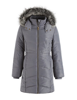 Everest Puffer Jacket With Faux Fur Trim, Little Girls by Calvin Klein