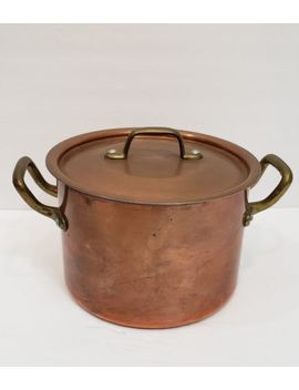 Vintage Copper Centuria Baumlin Made In France Brass Handle Pan Stock Pot Large by Centuria Baumlin