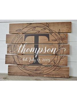 Personalized Family Name Sign Rustic Pallet Wood Monogram Wood 15x18 by Amazon