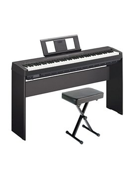 Yamaha P45 88 Key Weighted Digital Piano Home Bundle With Wooden Furniture Stand And Bench by Yamaha