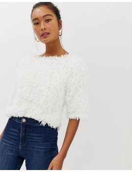 Miss Selfridge Fluffy Short Sleeve Jumper In White by Miss Selfridge