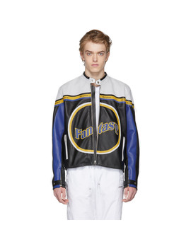 Multicolor Leather Racing Moto Jacket by Misbhv