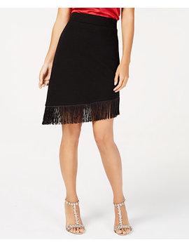 I.N.C. Asymmetrical Fringe Hem Skirt, Created For Macy's by Inc International Concepts