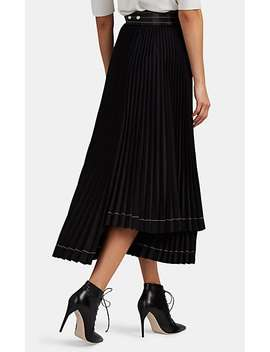 Contrast Stitched Pleated Midi Skirt by Helmut Lang