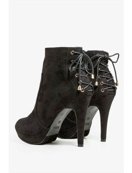 Not So Rounded Lace Up Bootie by A'gaci