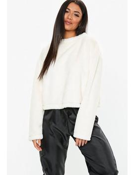 Cream Faux Fur Crew Neck Sweatshirt by Missguided