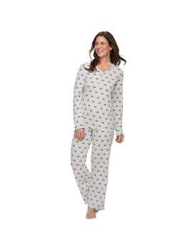 Women's Croft & Barrow® Henley Tee & Pants Pajama Set by Croft & Barrow