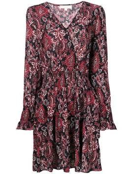 V Neck Printed Flared Dress by Michael Michael Kors