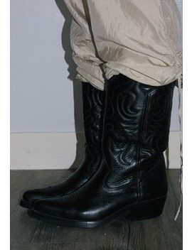 Kentucky's Vintage Black Leather Cowboy Boots by Heaven Thrift Shop