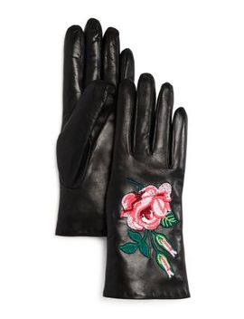 Embroidered Leather Gloves   100 Percents Exclusive by Bloomingdale's
