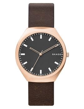Men's Greenen Leather Strap Watch, 40mm by Skagen