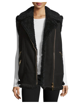Brentdale Shearling Fur Asymmetric Zip Vest by Neiman Marcus