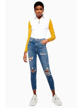 Petite Mid Blue Super Ripped Joni Jeans by Topshop