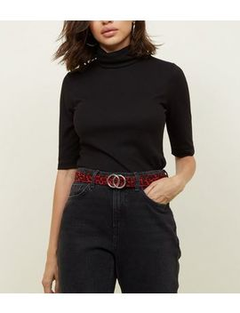 Red Leopard Circle Buckle Waist And Hip Belt by New Look