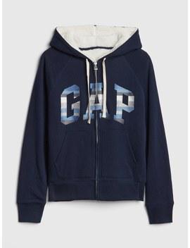 Sherpa Lined Stripe Logo Full Zip Hoodie by Gap
