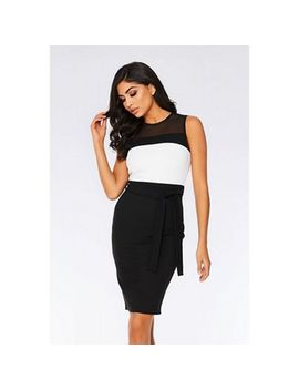 quiz---black-and-cream-contrast-mesh-midi-dress by quiz