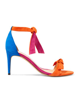 Clarita Bow Embellished Color Block Suede Sandals by Alexandre Birman